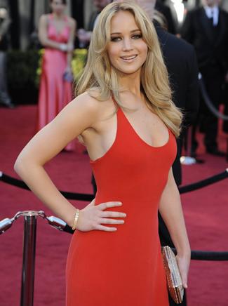 Jennifer Lawrence Wearing a Low Cut Red Dress