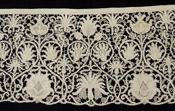 Handmade Punto in Aria lace, circa 1620