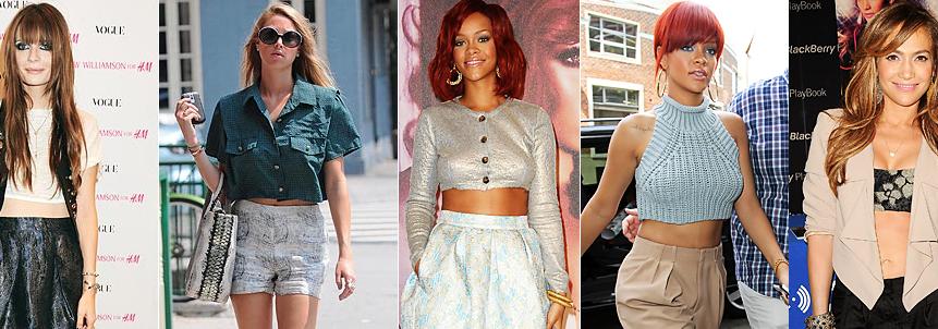 Celebrities wearing crop tops