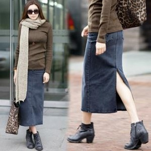 Back-Slit Long Denim Skirt