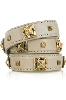 Leather and Brass Studded Bracelet