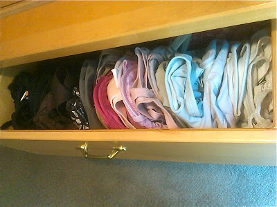 Don't store your bras like this! All the moulded cups are squished flat!
