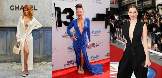Rihanna, Meagan Good and Rebecca Hall, from left to right.