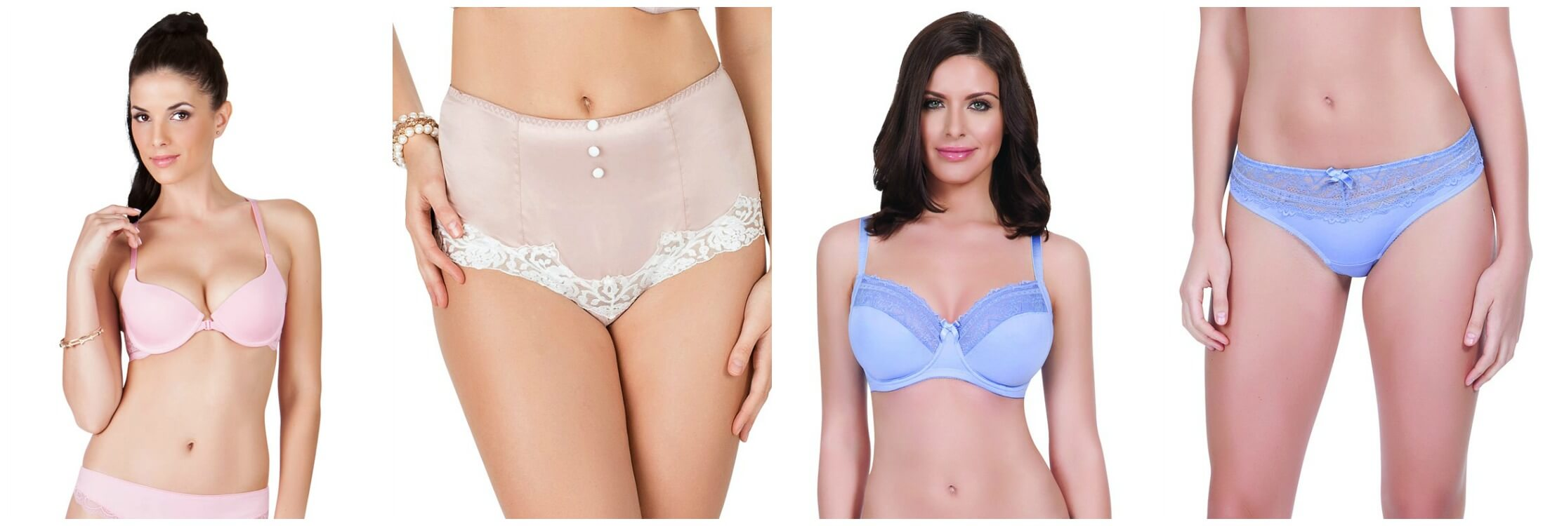 Nicole Seamless Padded Front Opening Racer-Back Bra by Affinitas Intimates; Danielle Satin Brief (rose And Purple) By Affinitas Parfait; Casey Unlined Wire Bra by Affinitas Parfait; Casey Lacy Thong by Affinitas Parfait