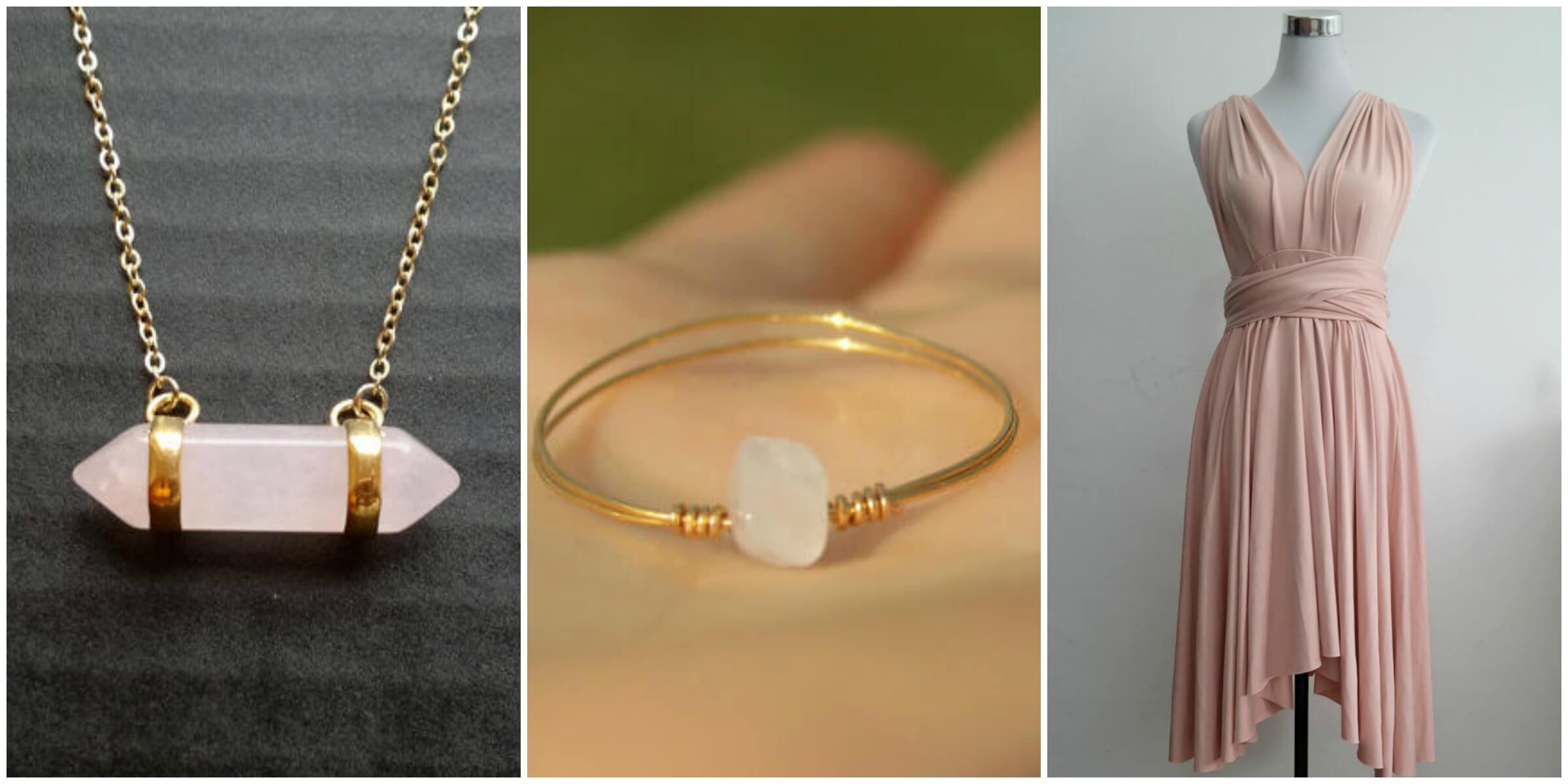 Rose Quartz necklace by Sinus Finnicus on Etsy; Dainty Rose Quartz Ring via the Purple Rosebud on Etsy; Knee Length Convertible Infinity Multi Wrap Dress via LilZoo on Etsy