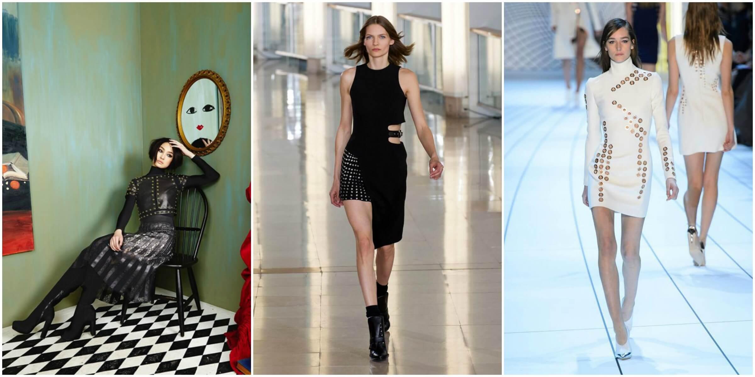 Alice + Olivia FW16 via Vogue; Anthony Vaccarello FW16 via Vogue; Mugler via Beauty BG Fashion