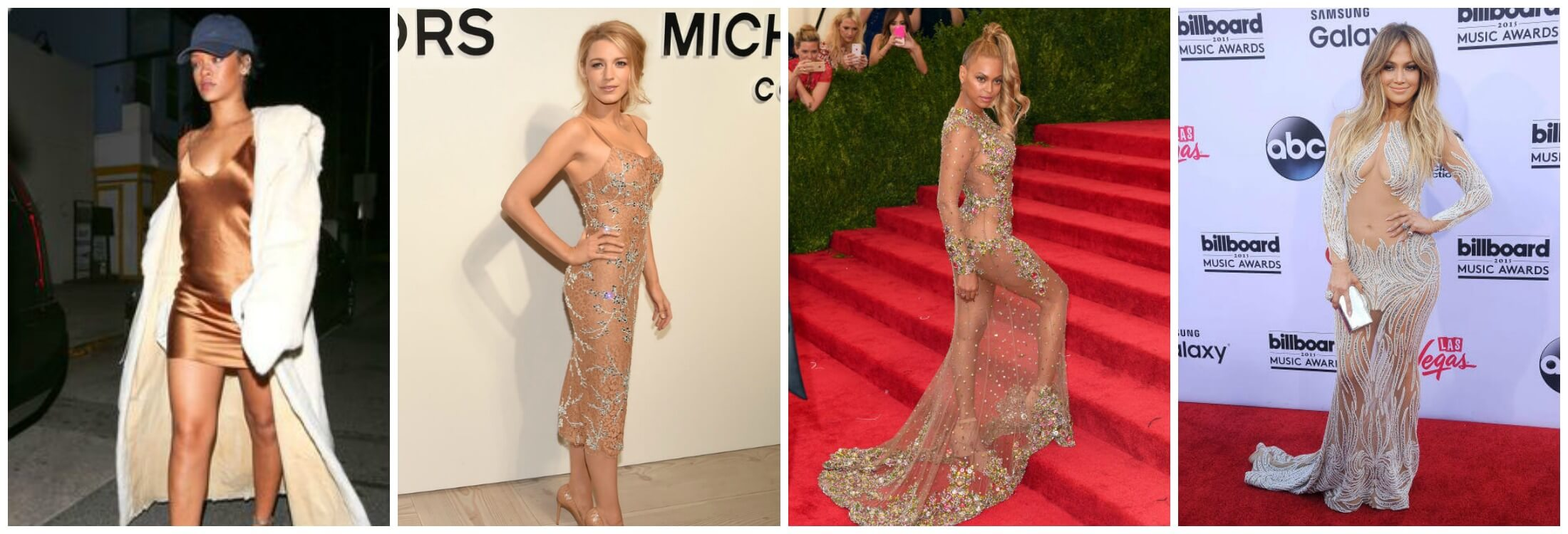 The Classic Naked Dress with Modern Twists & The New Naked Dress. From left: Rihanna, Blake Lively, Beyonce, Jennifer Lopez.