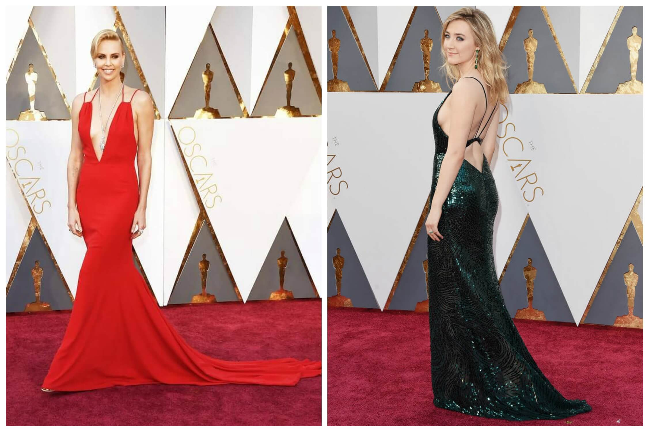Charlize Theron at the 2016 Oscars in Dior Haute Couture with shoulder cutouts via US Magazine; Saoirse Ronan at the 2016 Oscars in Calvin Klein with a back cutout via PopSugar