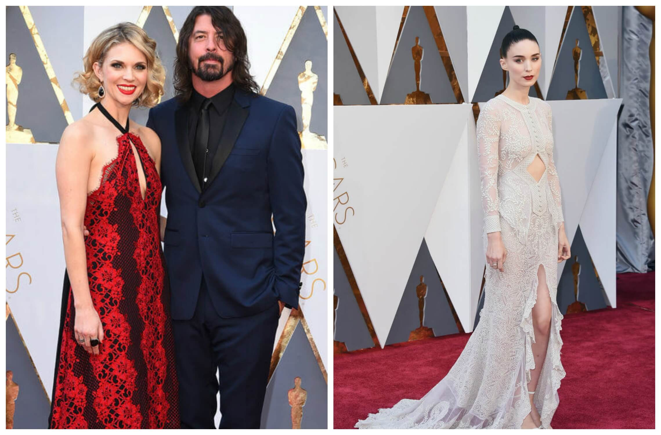 Jordyn Blum with hubby Dave Grohl at the 2016 Oscars with a chest cutout via In Style; Rooney Mara at the 2016 Oscars in Givenchy with a middle cutout via PopSugar