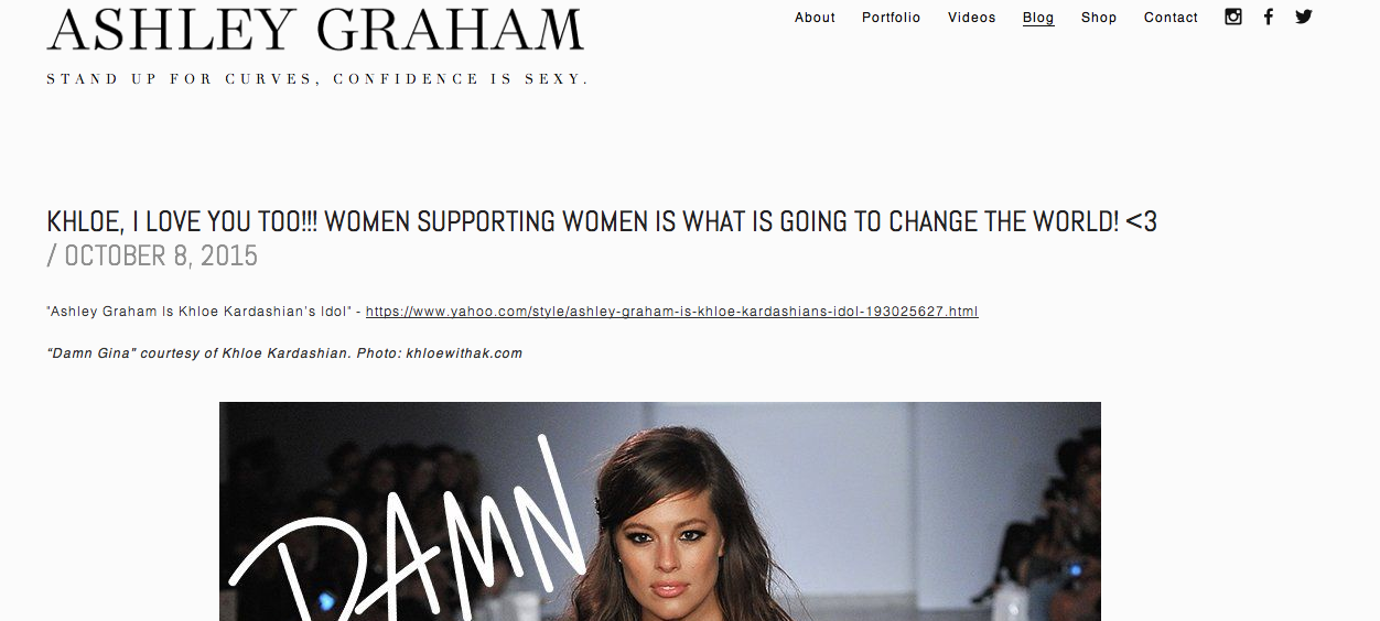 A screenshot of Ashley Graham's blog page.
