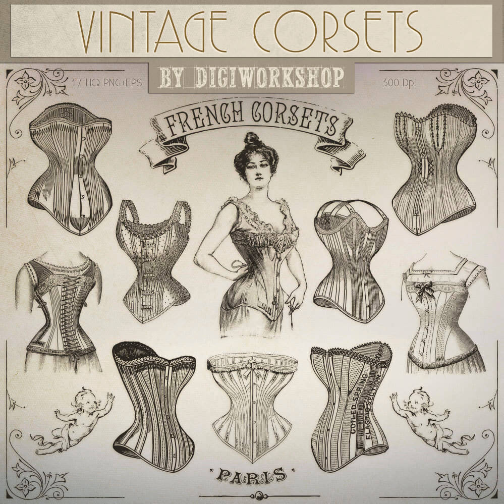 A collection of vintage corsets. Image via Etsy.