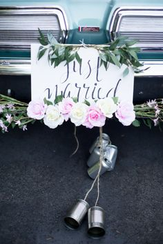 "A traditional ""Just Married"" car via Style Me Pretty, found on Pinterest"