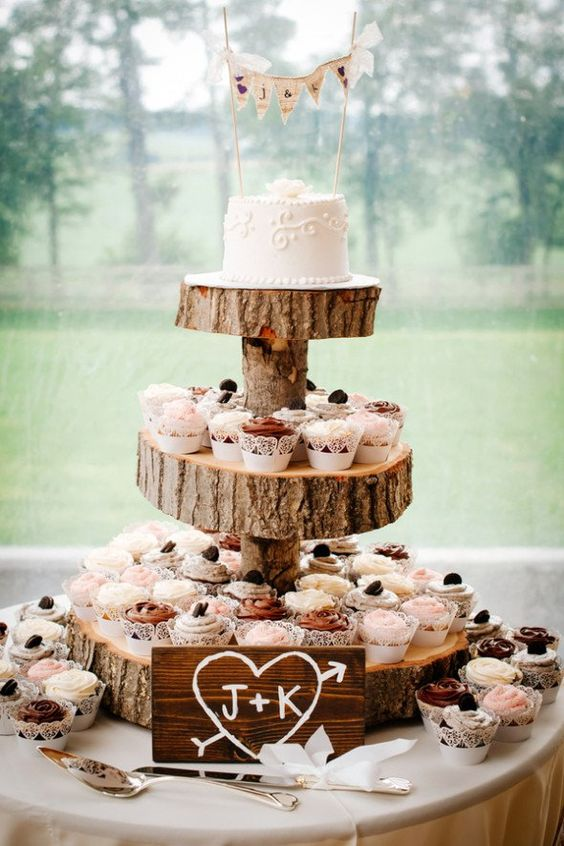 Wedding Cake and Cupcakes via Rustic Wedding Chic, found on Pinterest
