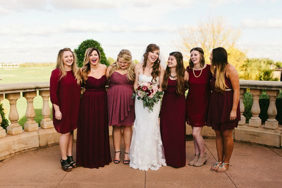 A mismatched bridal party via Pinterest