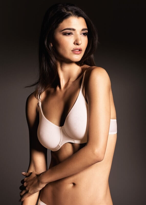 The Silk Double Moulded Underwire Bra by Eva Lingerie is made primarily of silk, with elastane for stretch