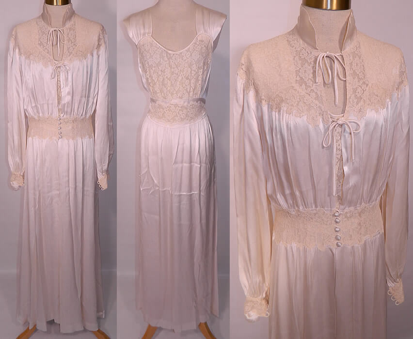 One of the ultimate luxury fabrics, satin, is the primary fabric of this vintage negligee via 18601960