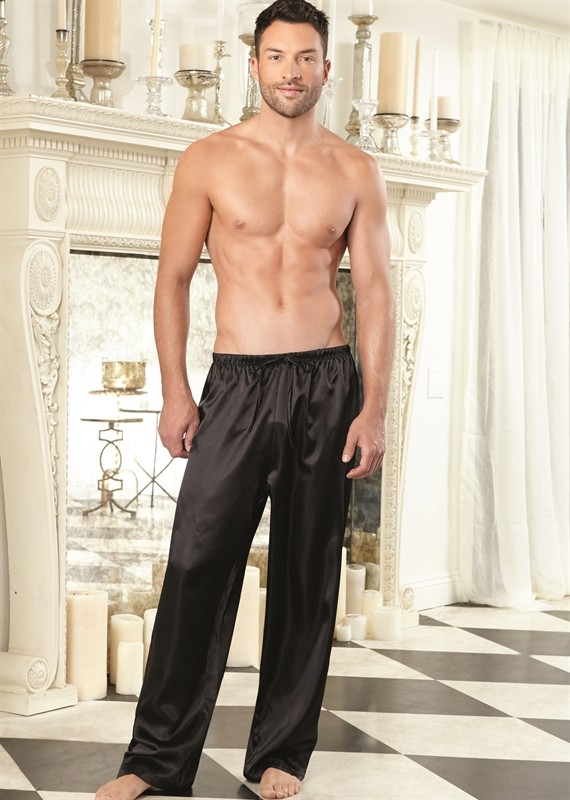 Drawstring Unisex Charmeuse Pant by Dreamgirl Lingerie