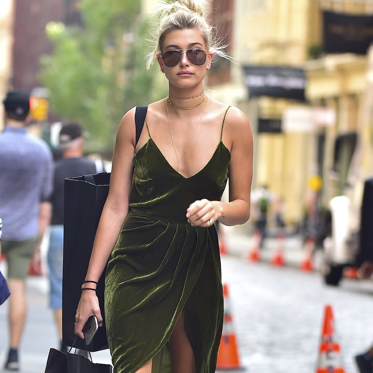 Hailey Baldwin in a velvet dress via PopSugar