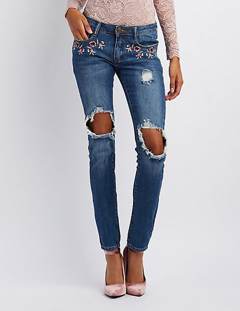 Embroidered denim will be a huge hit. Via Charlotte Russe