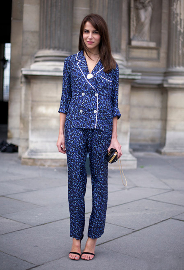 A matching pyjama set paired with heels via Brit+Co